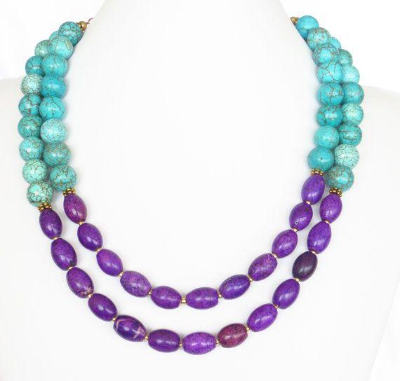 turquoise purple necklace colorblock necklace purple