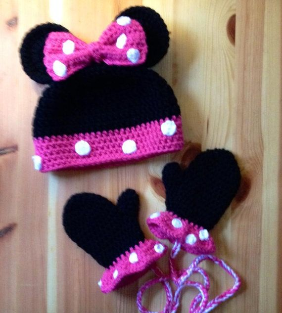 Minnie Mouse Knitting Pattern : Minnie Mouse Hat and Mitten set, Crochet Hat and Mittens, Kids hat