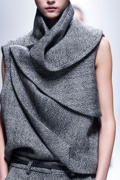 haider ackermann, herringbone tweed style vest top