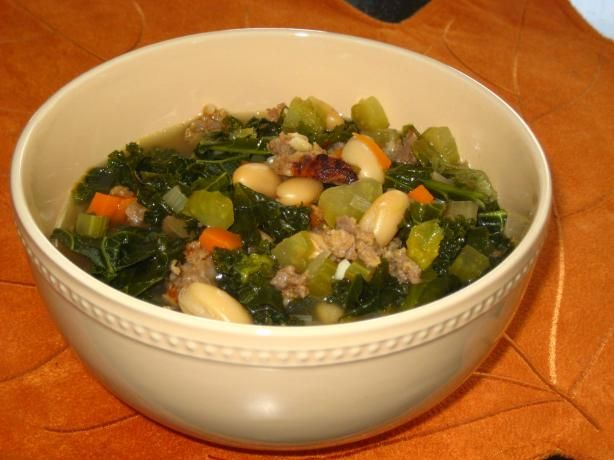 Mediterranean Kale & White Bean Soup With Sausage. (Made this tonight ...