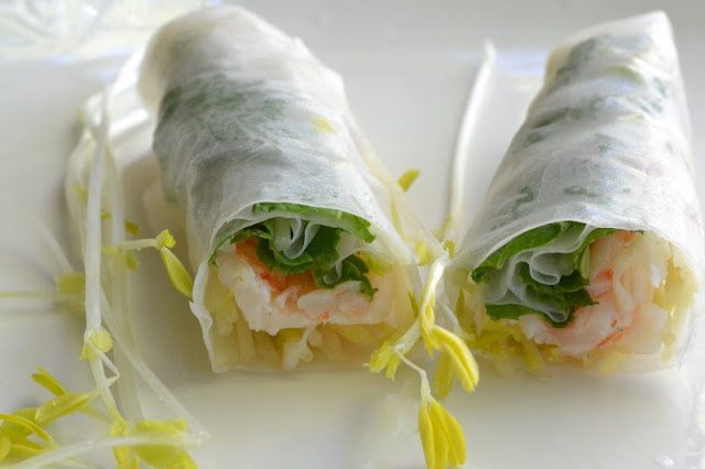 from Great Island: Shrimp and Mint Summer Rolls with Coconut Sauce