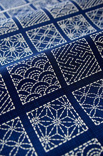 Sashiko.  Traditional Japanese fabric designs.--zentangle inspiration