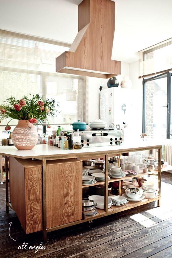 Open storage under island kitchen pinterest for Open kitchen no island