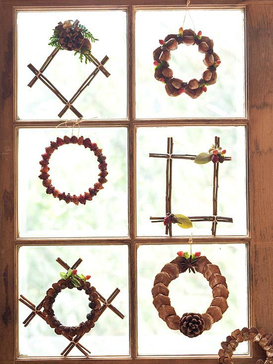 Fall Window Dressings - Spruce up a window for fall with miniature wreaths.