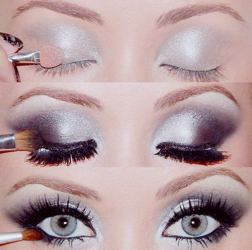 Eye makeup. Not as much silver. so pretty & would look perfect in pictures.