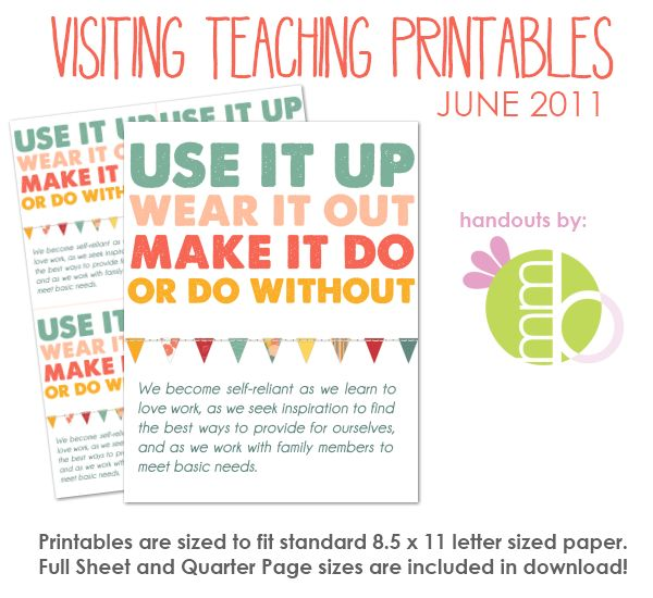 Free printables every month for VT. Just print and go. Love it!