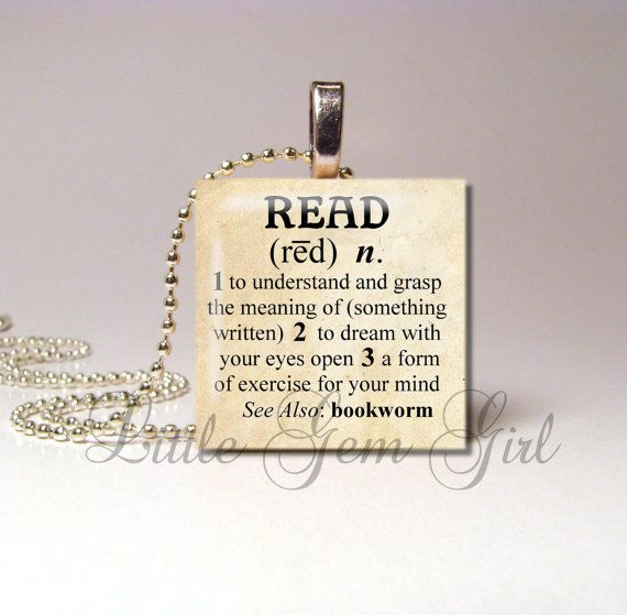 "Read Necklace Pendant Dictionary Definition Antique - Book Lover Bookworm Librarian Teacher 1""x1""  Wood Tile (ball chain sold separately)"