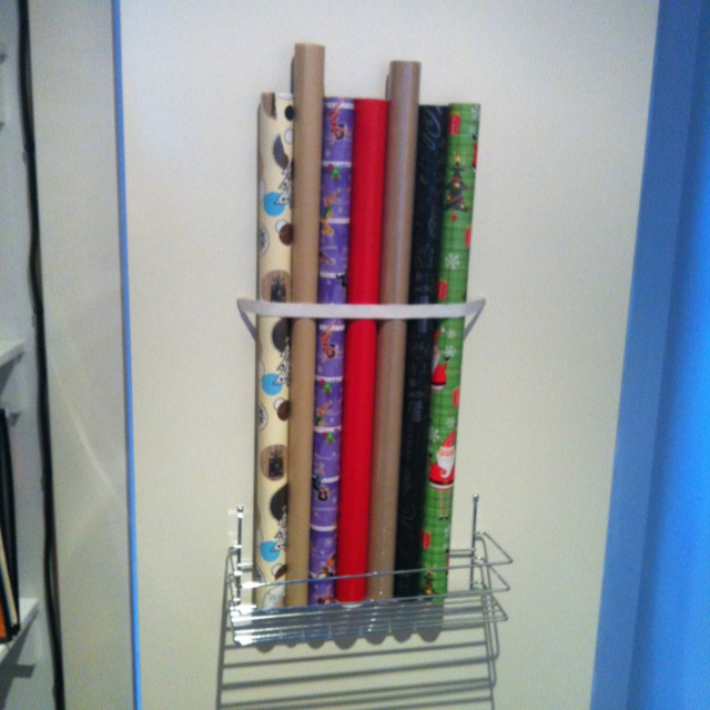 for wrapping paper! Bought a wire rack from Store & then screwed