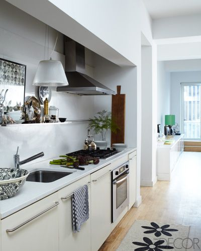 Pin by elle decor on kitchens we love pinterest for Apartment galley kitchen designs