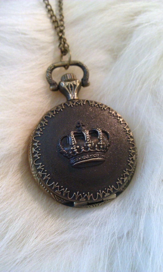 Crown Pocket Watch Pendant by shabbychatue on Etsy, $28.95