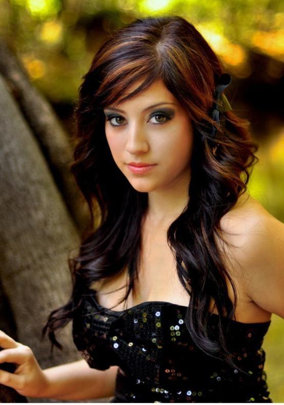 Violet Lowlights In Brown Hair Pretty dark brown hair with
