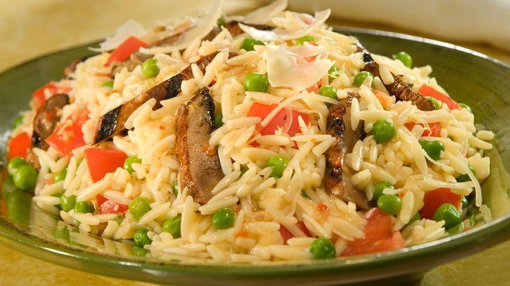 ... -Bone® recipe: Italian Orzo Salad with Peas, Parmesan & Portobellos