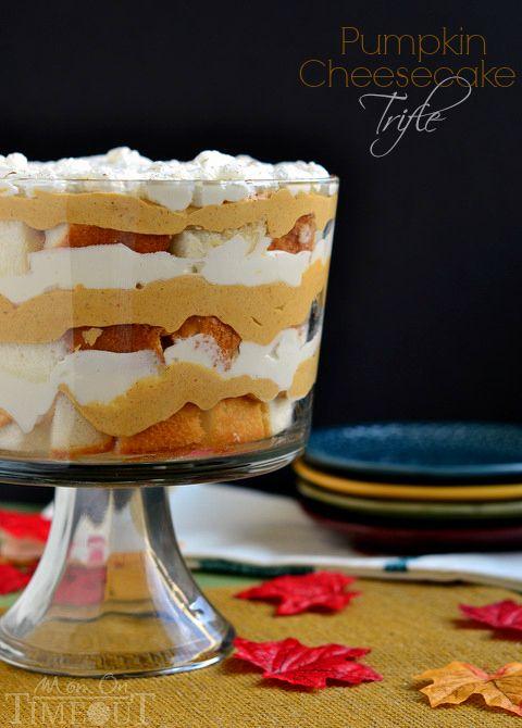 Pumpkin Cheesecake Trifle - This gorgeous dessert takes less than 20 minutes to prepare! | MomOnTimeout.com #sponsor #pumpkin #dessert