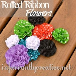 Ribbon rolled ruffled flowers how to