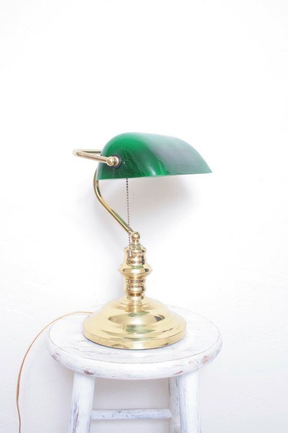Vintage bankers desk lamp - Vintage Bankers Desk Lamp With Gold Base And Green Shade