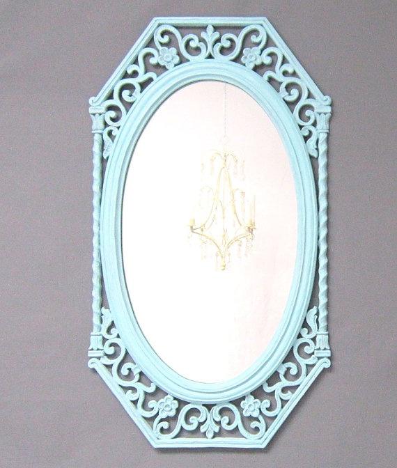 Shabby chic nursery mirror teal blue framed decorative for Teal framed mirror