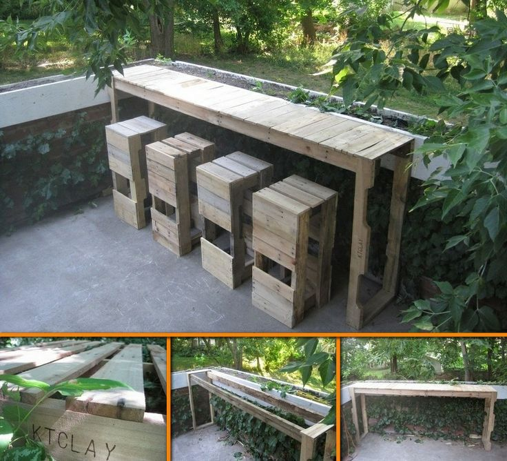 Pallet bar and stools pallets pinterest for Stools made from pallets