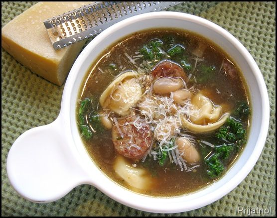 Cheese tortellini soup with cannellini beans, kielbasa, and kale ...