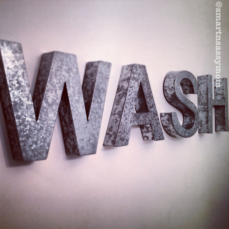 Pin by jennifer dehaan on galvanized pinterest for Bathroom wall letters