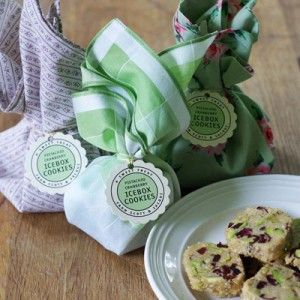 Pistachio Cranberry Icebox Cookies (with cute gift tags)