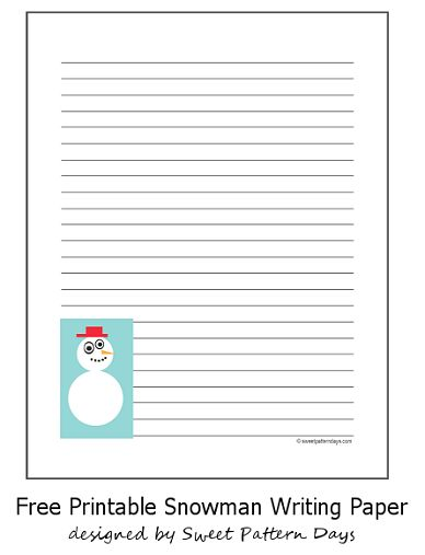 Cute Snowman Lined Writing Paper | Christmas Printables | Pinterest