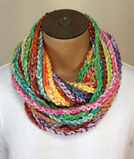 Crochet Chain : Crochet Chain Necklace Scarf Multi-Colored Scarf