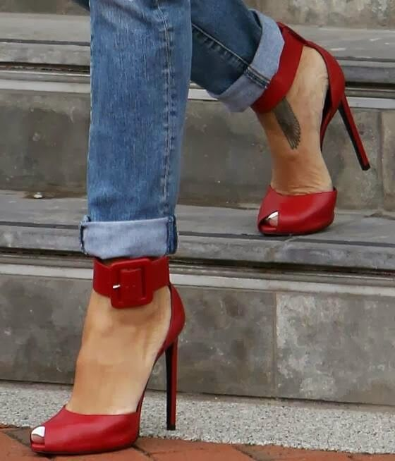 Smart red high heel sandals