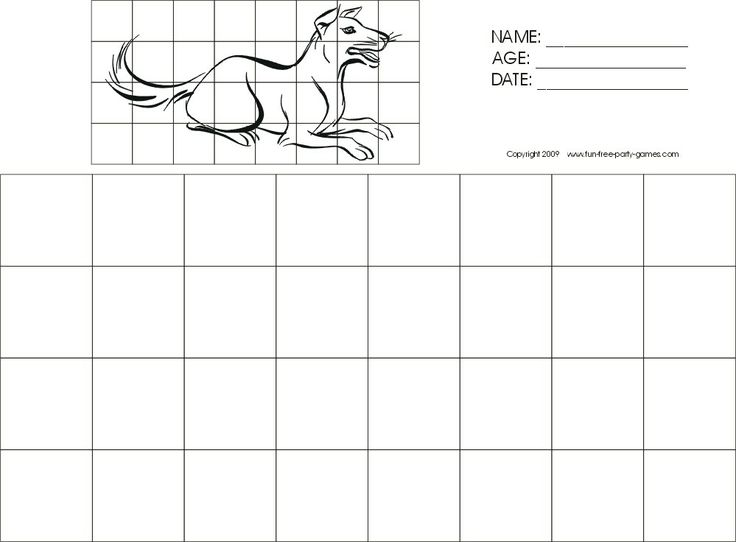 Dog grid drawing   Art projects   Pinterest