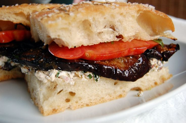 grilled eggplant panini with chevre and olives