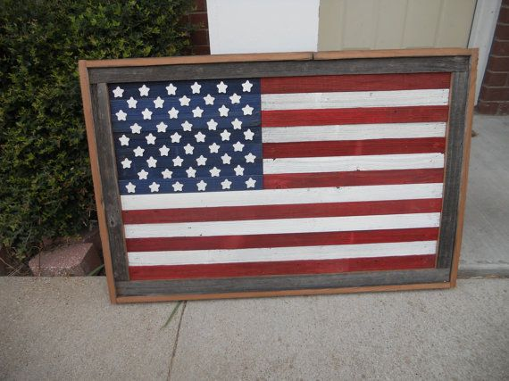 Large rustic wood american flag distressed reclaimed American flag wood wall art