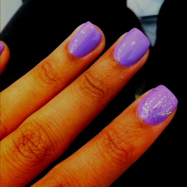 use any nail polish color. apply glitter & clear top coat.