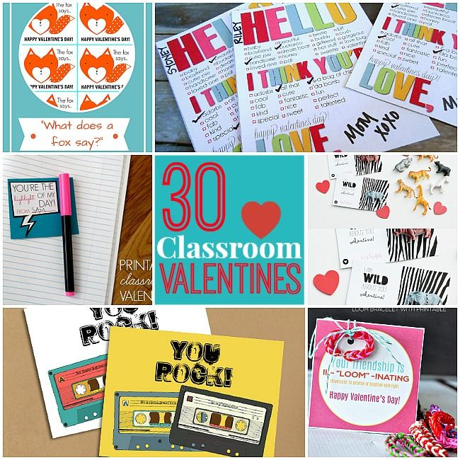 30 Free Classroom Valentines Printables!! Ideas for Elementary through High School!! -- Tatertots and Jello