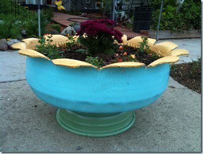 Planters made of recycled tires
