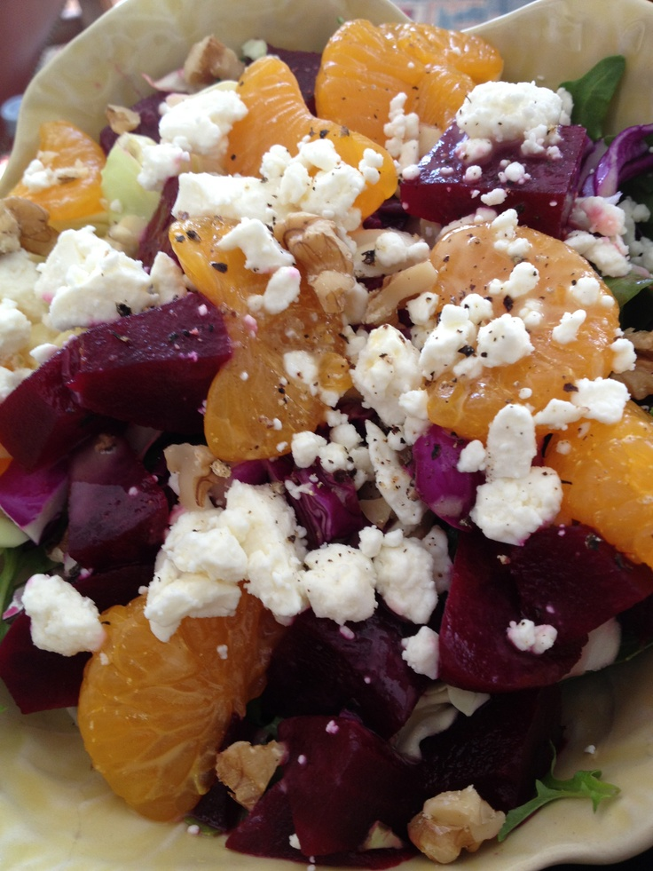 Beets and Mandarin Salad Pickled beets, mandarin oranges, walnuts, and ...