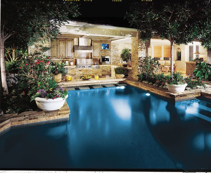 Awesome outdoor kitchen pool area outdoors inspiration for Outdoor patio cooking area