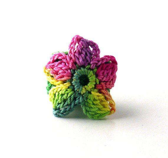 Crochet Ring Fiber Ring Flower Applique Yellow Green Pink on Emerald ...