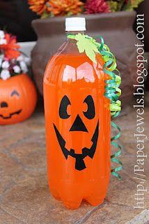 Pumpkin soda...cute for a Halloween party!