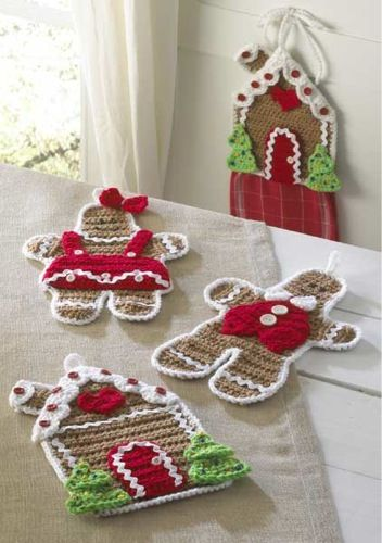Cute crochet Gingerbread house kitchen set with a towl holder, hotpads or wall decor. By Maggie's Crochet.