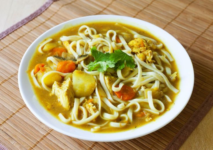 Japanese noodle soup made with potatoes, carrots and curry roux. Curry ...
