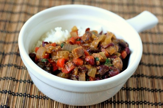 "Spicy ""Sausage"" with Red Beans and Rice 
