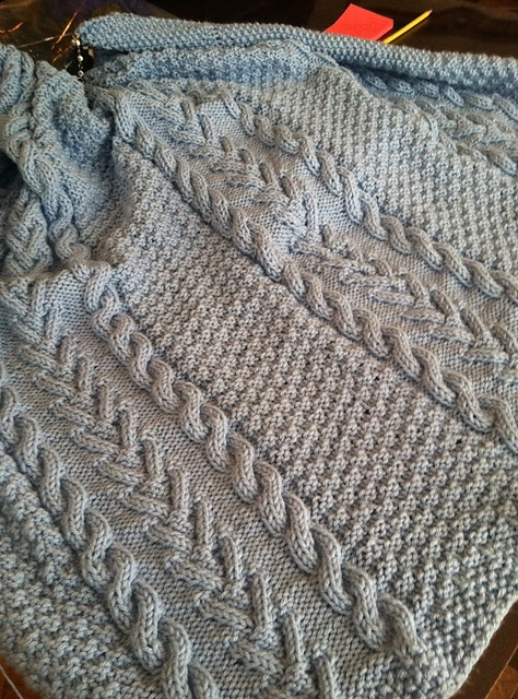 Crochet Aran Baby Blanket Pattern : Blue Aran Blanket for a baby boy Knit or crochet ...