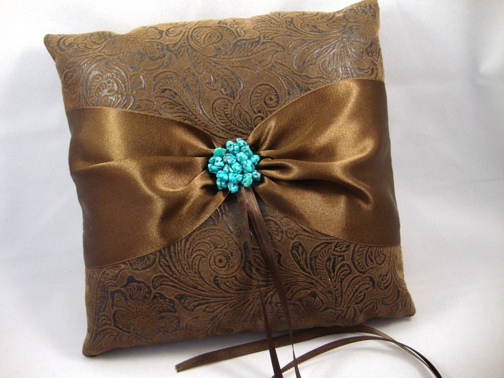 Rustic Western Country Chic Wedding Ring Bearer Pillow … Faux Tooled Leather w