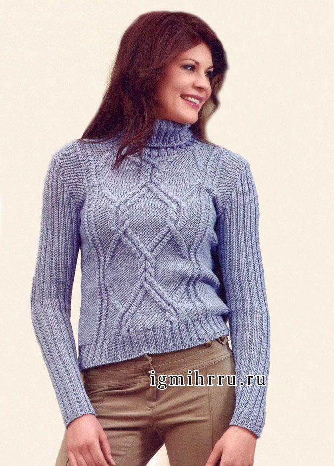 Вязание спицами свитер с ирландскими узорами