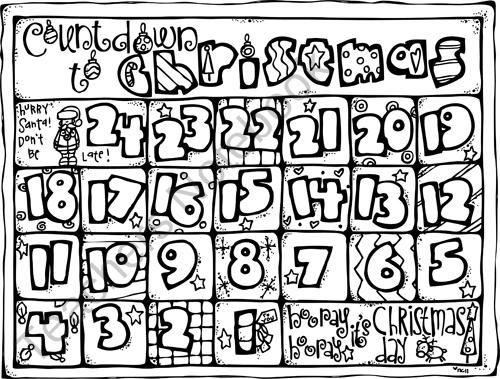 Christmas Countdown Calendar Coloring Page