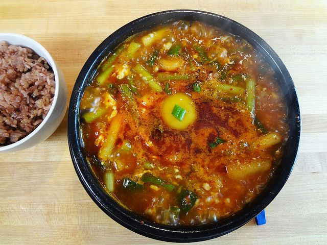 my soondubu jjigae (spicy soft tofu stew) by maangchi, via Flickr