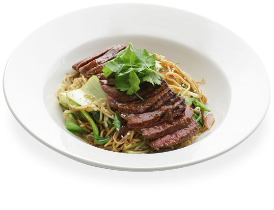 soba - grilled teriyaki beef on a bed of teppan fried soba noodles ...