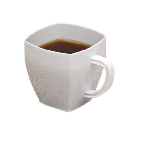 2 Oz White Square Mini Plastic Coffee Tea Cups