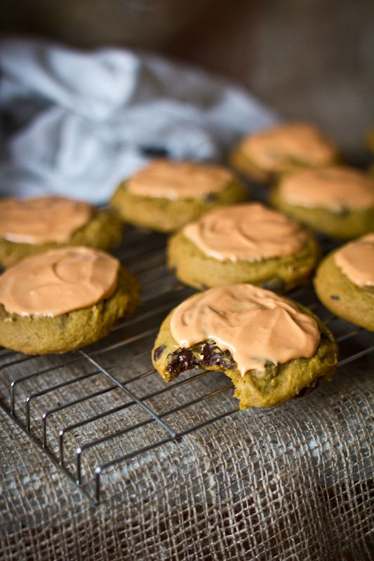 Dark Chocolate Chip Pumpkin Cookies with Cream Cheese Glaze & a McCor ...