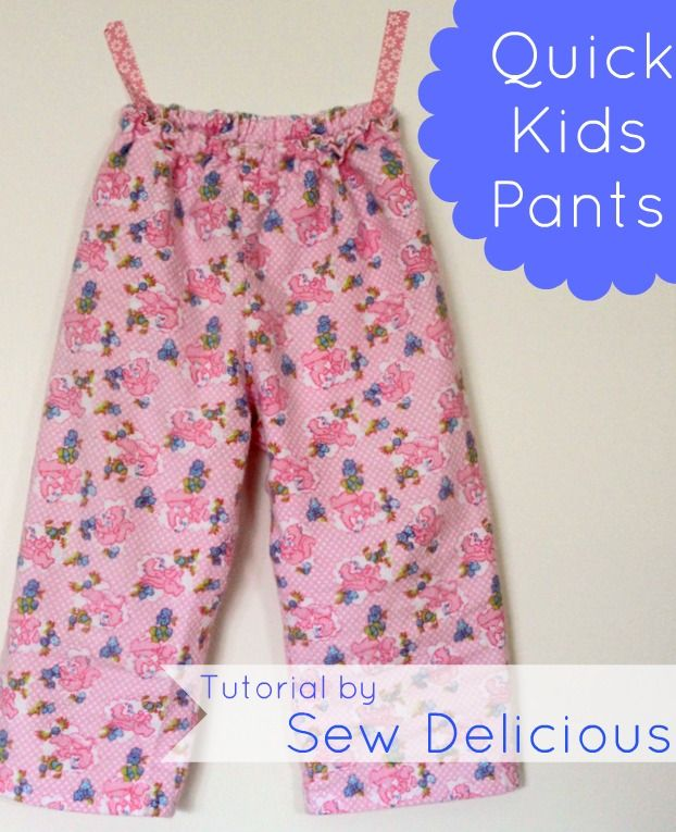 Quick & Easy Kids Pants - no pattern required! Tutorial by Sew Delicious
