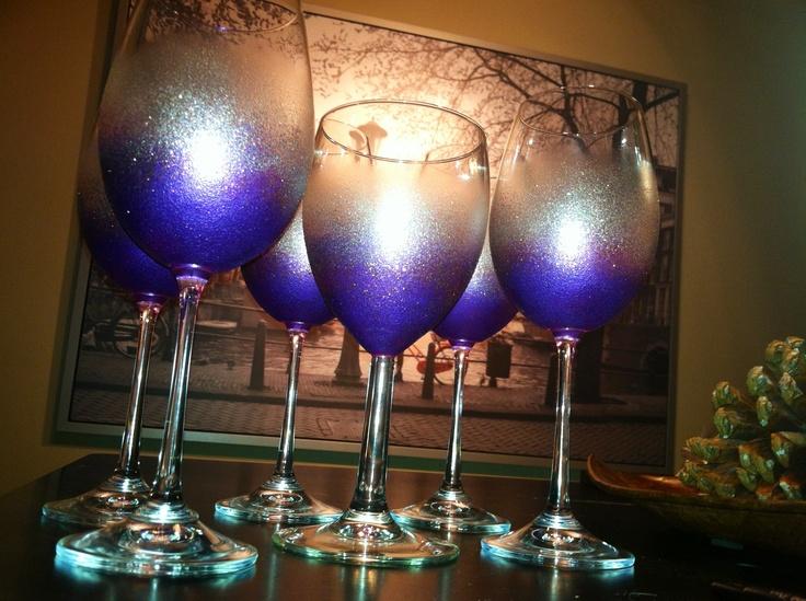 Bachelorette wine glasses made with martha stewart glass for Martha stewart glass paint instructions